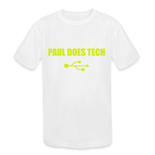 Paul Does Tech Yellow Logo With USB (MERCH) - Kids' Moisture Wicking Performance T-Shirt