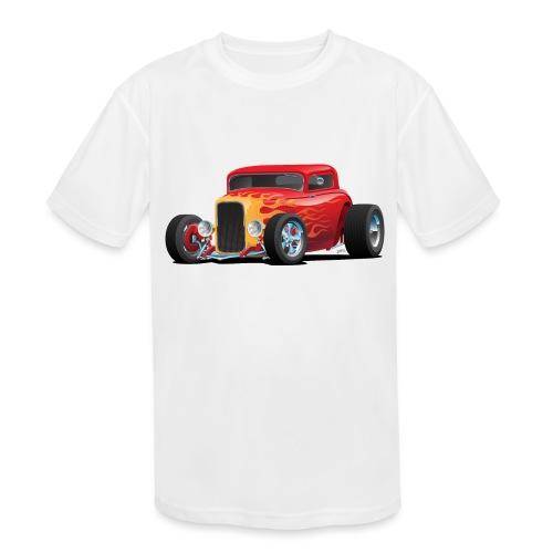 Classic Bold Red Custom Street Rod - Kids' Moisture Wicking Performance T-Shirt