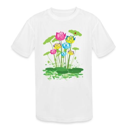 colorful waterlilies flowers - Kids' Moisture Wicking Performance T-Shirt