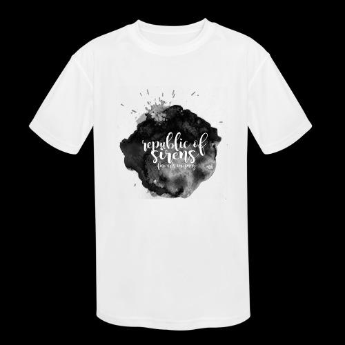 ROS FINE ARTS COMPANY - Black Aqua - Kids' Moisture Wicking Performance T-Shirt