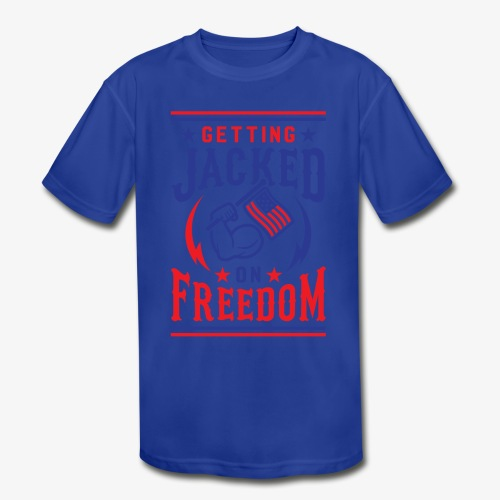 Getting Jacked On Freedom - Kids' Moisture Wicking Performance T-Shirt