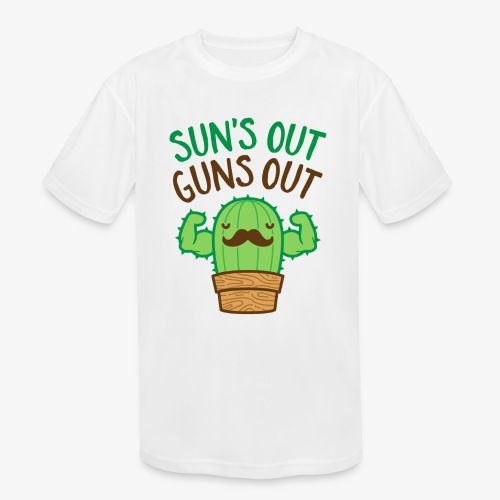 Sun's Out Guns Out Macho Cactus - Kids' Moisture Wicking Performance T-Shirt