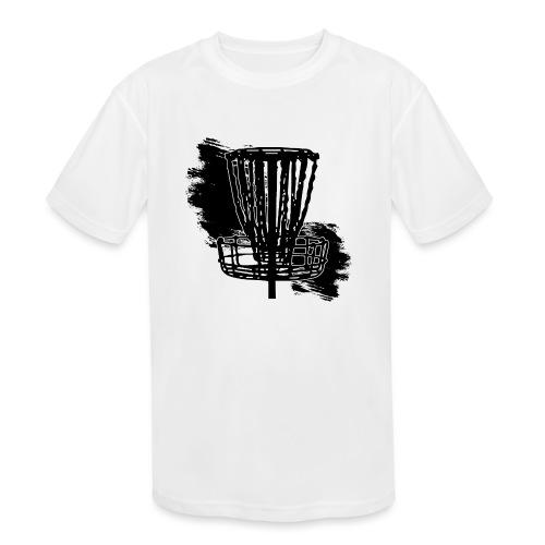 Disc Golf Basket Paint Black Print - Kids' Moisture Wicking Performance T-Shirt