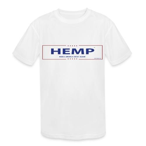 Hemp Makes America Great Again on White - Kids' Moisture Wicking Performance T-Shirt