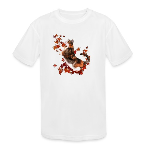 Autumn Cat - cat playing with autumn leaves - Kids' Moisture Wicking Performance T-Shirt