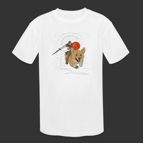 A Corgi Knight charges into battle - Kids' Moisture Wicking Performance T-Shirt