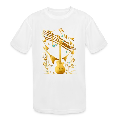 Gold Guitar Party - Kids' Moisture Wicking Performance T-Shirt