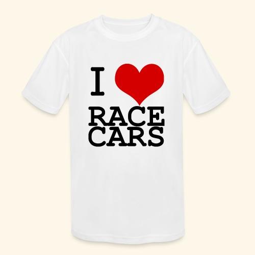I Love Race Cars - Kids' Moisture Wicking Performance T-Shirt