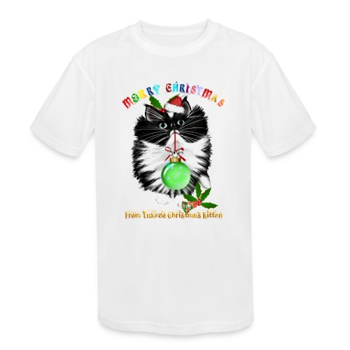 A Tuxedo Kitten Christmas - Kids' Moisture Wicking Performance T-Shirt