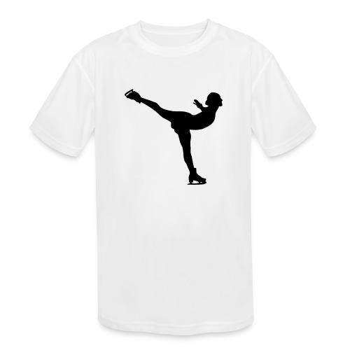 Ice Skating Woman Silhouette - Kids' Moisture Wicking Performance T-Shirt
