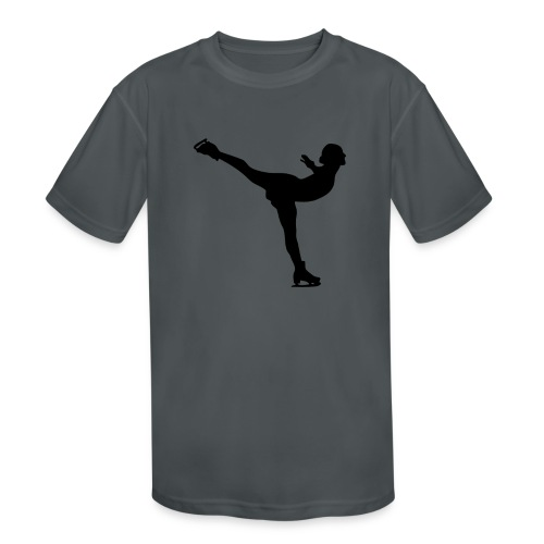 Ice Skating Woman Silhouette - Kids' Moisture Wicking Performance T-Shirt