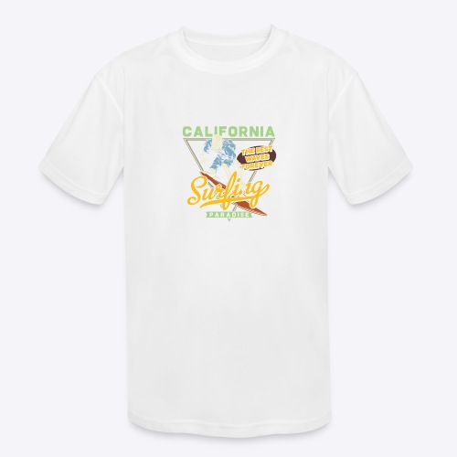 California Surfing Paradise - Kids' Moisture Wicking Performance T-Shirt