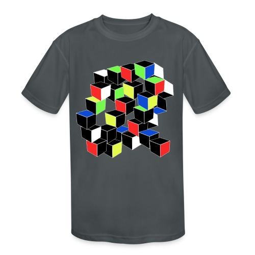 Optical Illusion Shirt - Cubes in 6 colors- Cubist - Kids' Moisture Wicking Performance T-Shirt