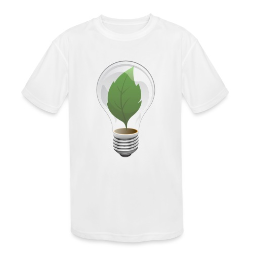 Clean Energy Green Leaf Illustration - Kids' Moisture Wicking Performance T-Shirt