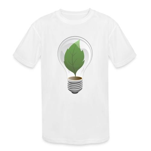 Clean Energy Green Leaf Illustration - Kids' Moisture Wicking Performance T-Shirt