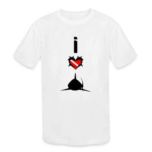 I Love Sharks - Kids' Moisture Wicking Performance T-Shirt