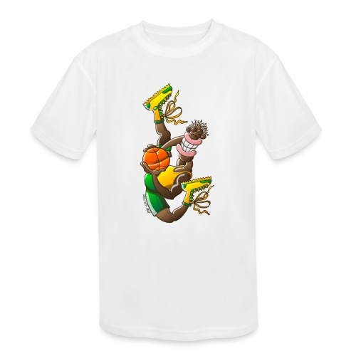 Acrobatic basketball player performing a high jump - Kids' Moisture Wicking Performance T-Shirt