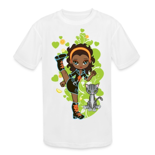 Aisha the African American Chibi Girl - Kids' Moisture Wicking Performance T-Shirt