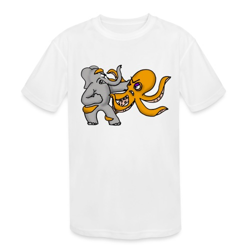 Elephant vs. Octopus Mug - Kids' Moisture Wicking Performance T-Shirt