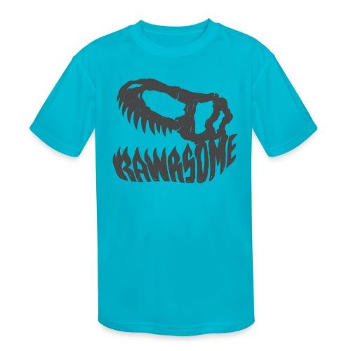RAWRsome T Rex Skull by Beanie Draws - Kids' Moisture Wicking Performance T-Shirt