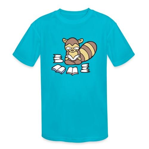 Reading Raccoon - Kids' Moisture Wicking Performance T-Shirt
