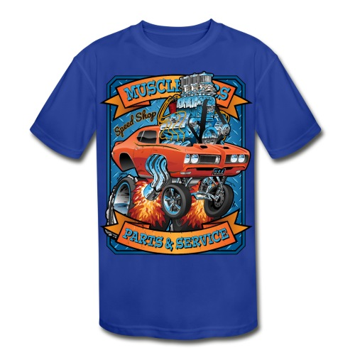 Classic Sixties Muscle Car Parts & Service Cartoon - Kids' Moisture Wicking Performance T-Shirt