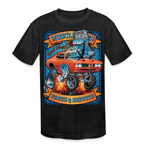 Classic Sixties Muscle Car Parts & Service Cartoon - Kids' Moisture Wicking Performance T-Shirt