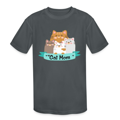Cat MOM, Cat Mother, Cat Mum, Mother's Day - Kids' Moisture Wicking Performance T-Shirt