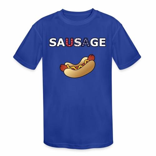 Patriotic BBQ Sausage - Kids' Moisture Wicking Performance T-Shirt