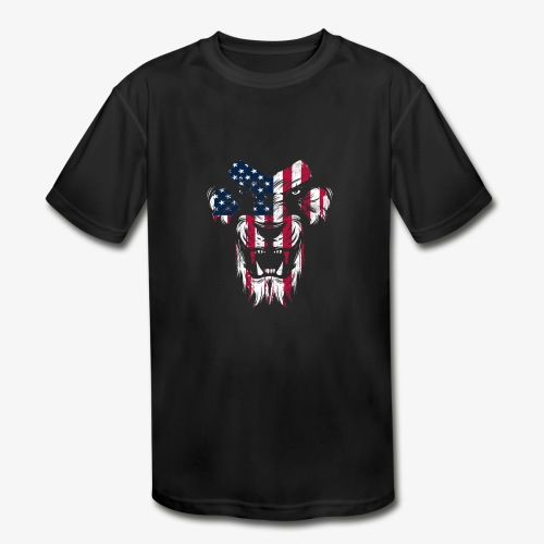 Lovely American Lion USA Flag Silhouette Portrait - Kids' Moisture Wicking Performance T-Shirt