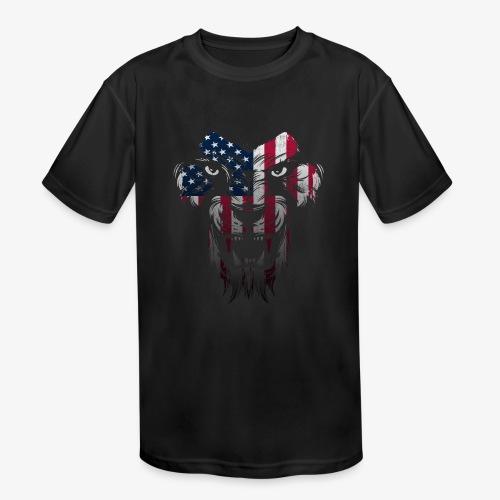 American Flag Lion Shirt - Kids' Moisture Wicking Performance T-Shirt