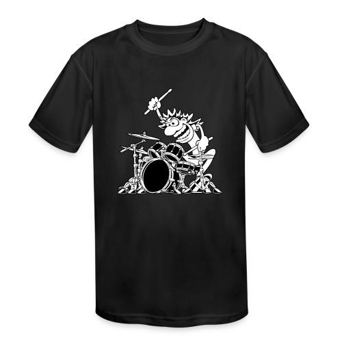 Crazy Drummer Cartoon Illustration - Kids' Moisture Wicking Performance T-Shirt