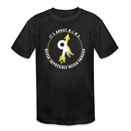 NINE Logo with Wings - Kids' Moisture Wicking Performance T-Shirt