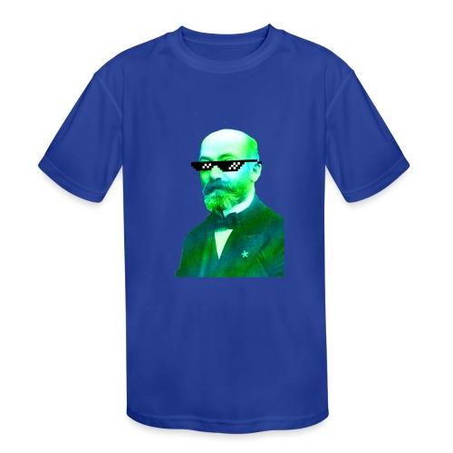 Green and Blue Zamenhof - Kids' Moisture Wicking Performance T-Shirt