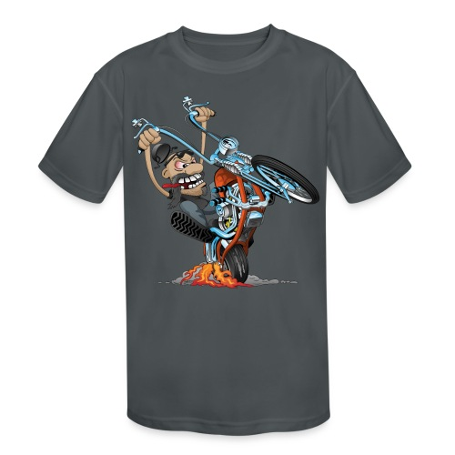 Funny biker riding a chopper cartoon - Kids' Moisture Wicking Performance T-Shirt