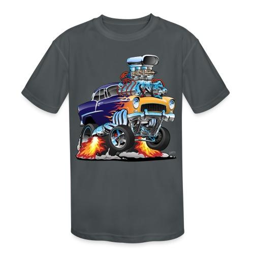 Classic Fifties Hot Rod Muscle Car Cartoon - Kids' Moisture Wicking Performance T-Shirt