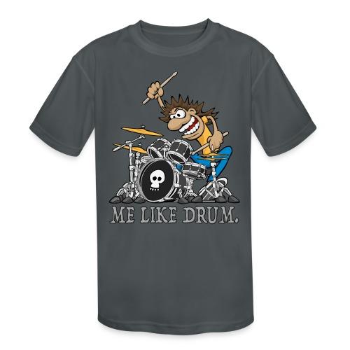 Me Like Drum. Wild Drummer Cartoon Illustration - Kids' Moisture Wicking Performance T-Shirt