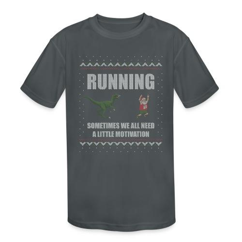 Ugly Christmas Sweater Running Dino and Santa - Kids' Moisture Wicking Performance T-Shirt