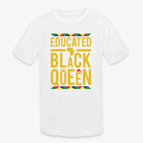Educated Black Queen - Kids' Moisture Wicking Performance T-Shirt