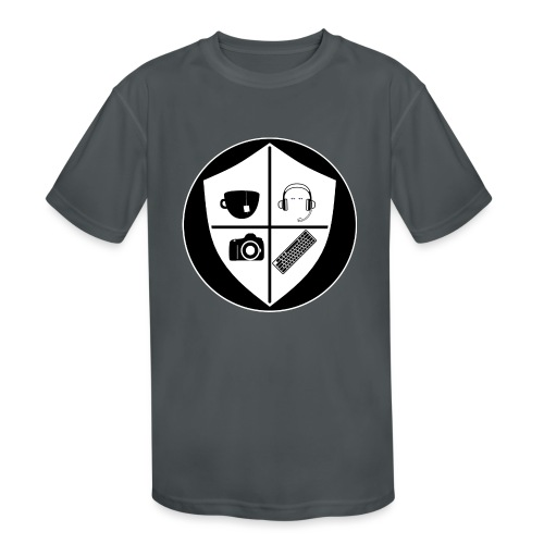 Punk Who Drinks Tea Crest (Inverted) - Kids' Moisture Wicking Performance T-Shirt