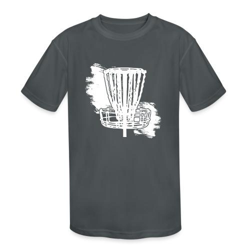 Disc Golf Basket White Print - Kids' Moisture Wicking Performance T-Shirt