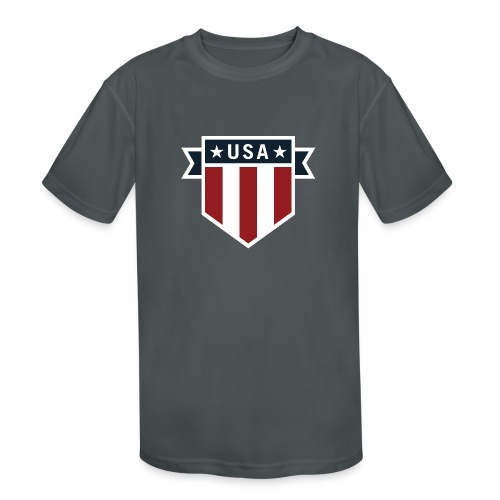 USA Pride Red White and Blue Patriotic Shield - Kids' Moisture Wicking Performance T-Shirt