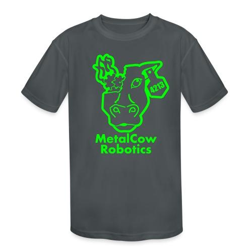MetalCowLogo GreenOutline - Kids' Moisture Wicking Performance T-Shirt