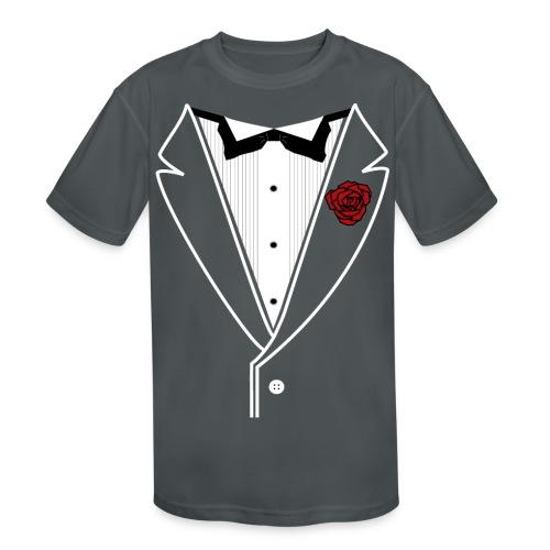 Tuxedo w/White Lapel - Kids' Moisture Wicking Performance T-Shirt