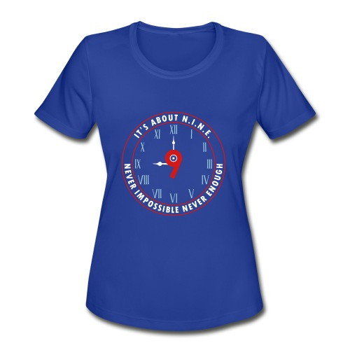 NINE Logo v2 2018 blue Outlines Red Numbers - Women's Moisture Wicking Performance T-Shirt