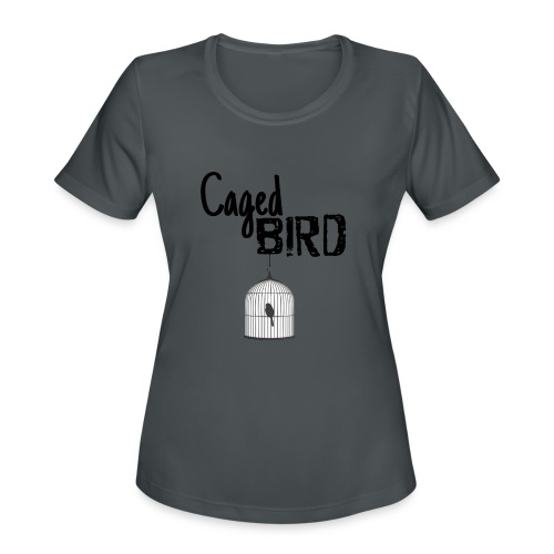 Caged Bird Abstract Design - Women's Moisture Wicking Performance T-Shirt