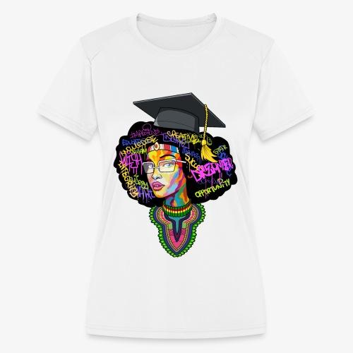 Black Educated Queen School - Women's Moisture Wicking Performance T-Shirt