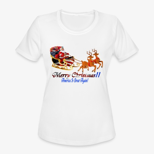 Merry Christmas-America - Women's Moisture Wicking Performance T-Shirt