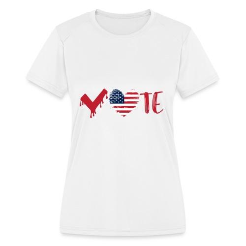 vote heart red - Women's Moisture Wicking Performance T-Shirt