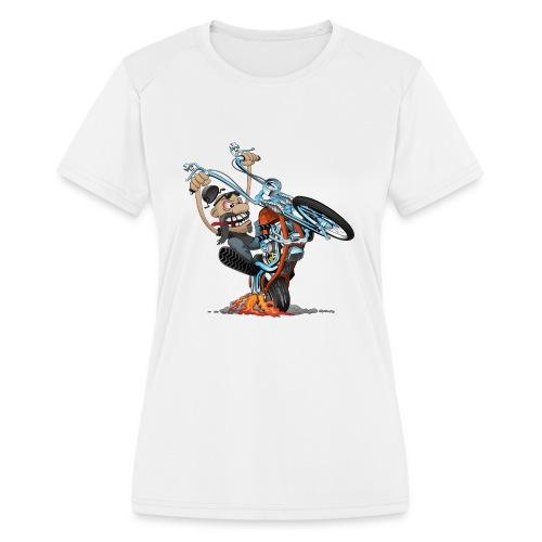 Funny biker riding a chopper cartoon - Women's Moisture Wicking Performance T-Shirt